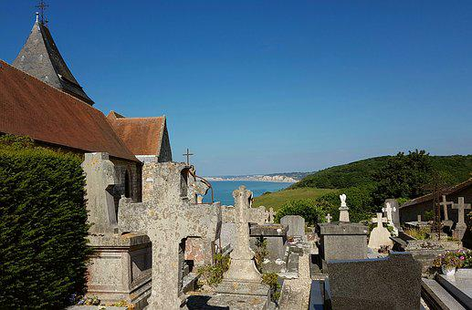 Church, Cemetery, Graves, Crosses, Normandy, Coast