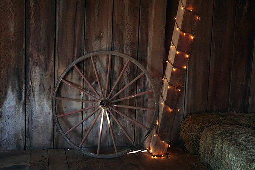 Wagon Wheel, Barn, Hay, R, Rustic, Wooden, Western