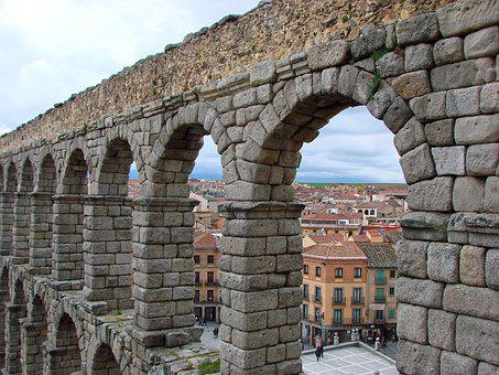 Segovia, Arches, Viaduct, Stone, People, Roofs