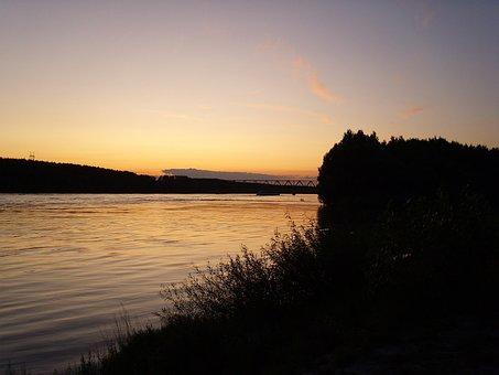 Danube, Sunset, Border, River, Water, Summer, Landscape