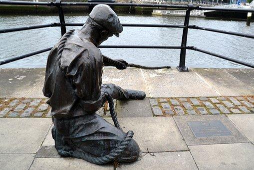 Sailor, Fischer, Sculpture, Art, Statue, Water, Figure