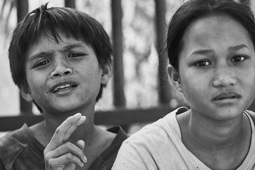 Women's, Documentary, Child, Black And White, Cambodia