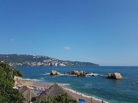 Acapulco, Sea, Sky, Beach, Mexico, Sunny, Paradise
