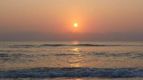 Sun, Sunrise, Ocean, Beach, Sea