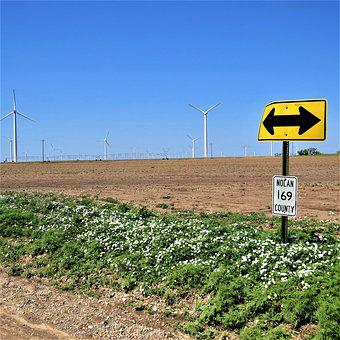 Modern Windmills, Blue Sky, Road Sign, White Flowers