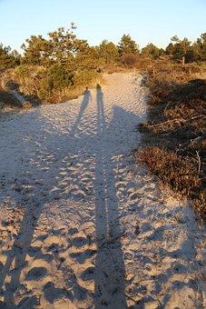 Dunes, Sunset, People, Shadow, Travel, Summer, Nature