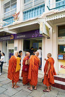 Buddhist, Orange, Male, Buddhism, Temple, Asian, Prayer