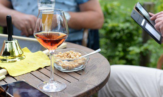 Drink, Wine, Rose, Table, Nuts, Restaurant, Glass