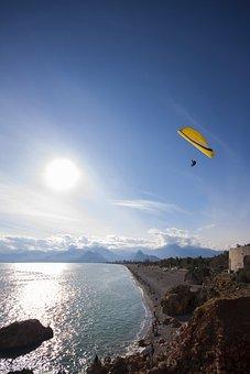 Parachute, Blue, Rocky, Fly, Composition, Human, Sky
