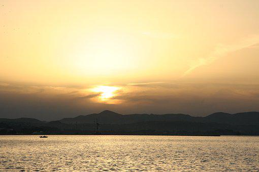 Corfu, Greece, Sunset, Sea