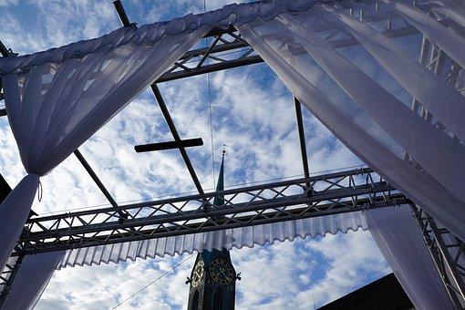 Church, Zurich, Switzerland, Curtain, Construction