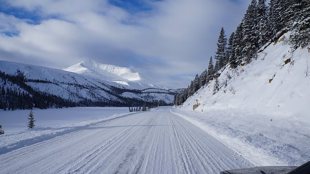 Alaska Highway, Summit Lake, Snow, Winter, Frozen