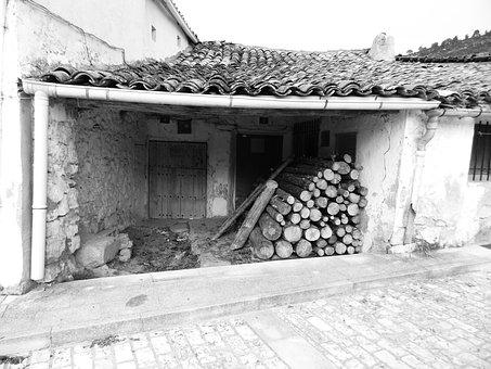 Black And White, House, Ruins, Architecture, People