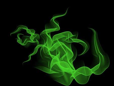 Smoke, Background, Abstract, Eddy, Black, Green