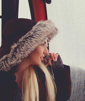 Ski, Ski-lift, Woman, Girl, Blond, Coat, Winter