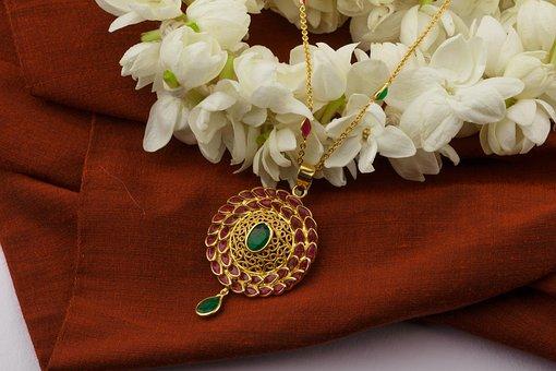 Ruby, Emerald, Pendant Chain, Jewellery, Gem, Gemstone