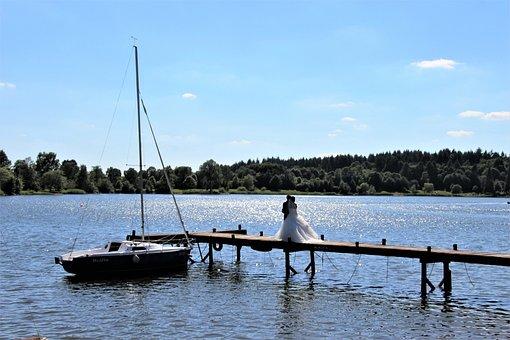 Bride And Groom, Jetty, Water, Web, Lake, Romantic