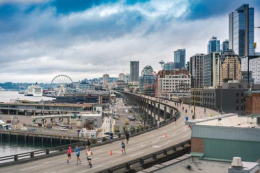 Seattle, Marathon, Rocknroll, City, Overcast, Freeway