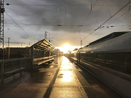 Train, Railway, Locomotive, Sunset, Rain, Journey