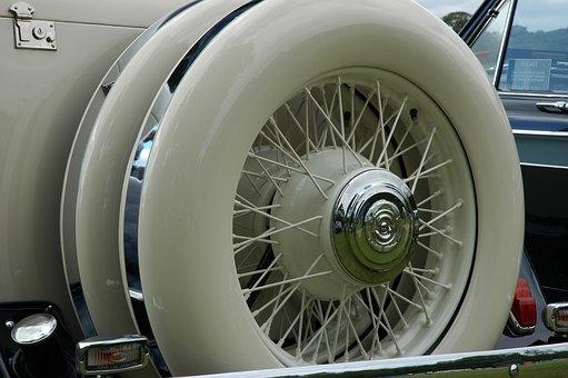 Spoked Wheel, Classic Car, Spare Wheel