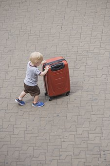 Child, Force, Independent, Game, Walk, Suitcase