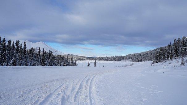 Alaska Highway, Summit Lake, Snow, Winter, Frozen