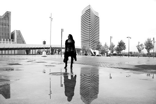 Women, Reflection, Puddle, Water, City, Street, Wet