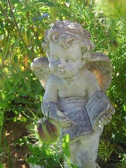 Angel, Statue, Book, White, Sculpture, Decoration