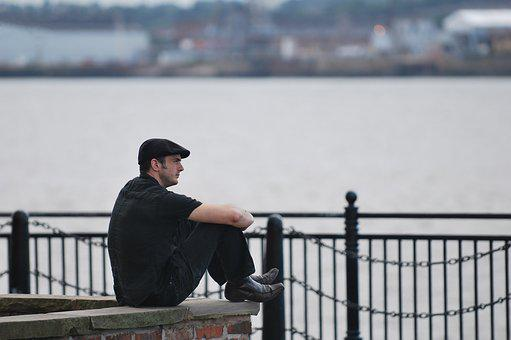 Liverpool, Mersey, Thoughtful, Ponder, Flat, Cap