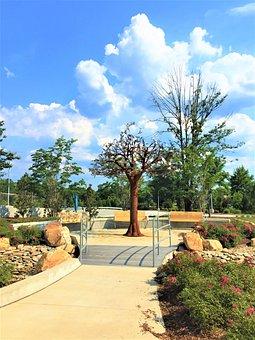 Metal Tree, Sculpture, Blue Sky, Park