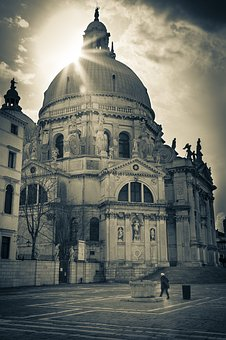 Venice, Italy, San Maggiore, Sun, Black And White