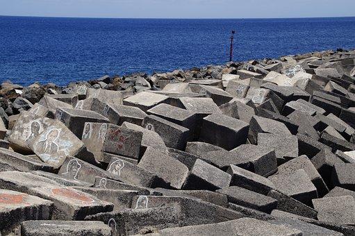 Mole, Bank, Shore Stones, Sea, Atlantic, Santa Cruz