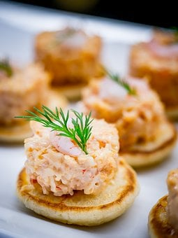 Food, Blinis, Canape, Shrimp, Dill, Cocktail