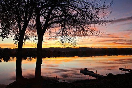 Sunset, Lake, Colorado, Water, Sky, Nature, Landscape