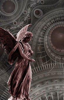 Angel, Statue, Red, Shade, Stone, Saint, Ancient, Edit