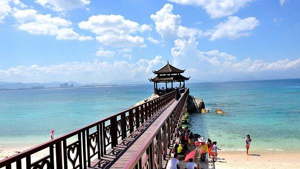 Beach, Bridge, Covered Bridge, Blue Sky, Cloud, Tourism