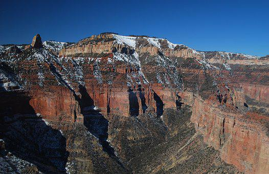 Grand Canyon, North Rim, Snowy Ridge, Canyon, Grand