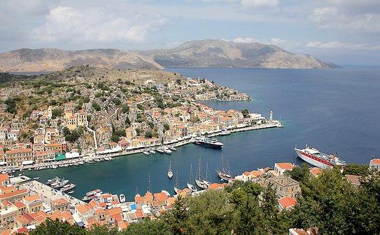 Greece, Symi, Island, Sea, Dodecanese, Port, Ships
