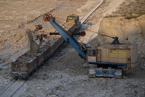 Mine, Chalk, Excavator, Train, Loading, Chelsea