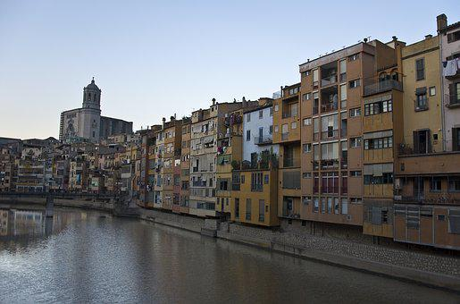 Girona, River, Buildings, Channel, Panoramic, Catalonia