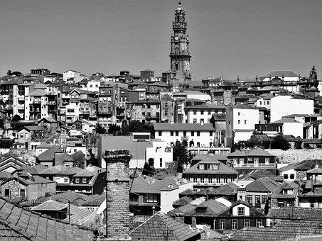 Porto, Black And White, Roofs, City, Portugal, People