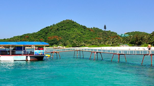 Bridge, Ship, Beach, Mountain, Sea, Travel, Sunshine