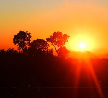Sunset, Glow, Natue, Nature, Sun, Light, Sky, Summer