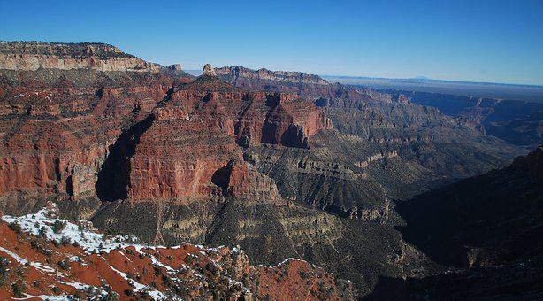 Grand Canyon, North Rim, Snow, Ridge, Canyon, Grand