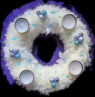 Advent Wreath, White Blue, Festive Decorations