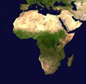 Africa, Continent, Aerial View, Geography, Map