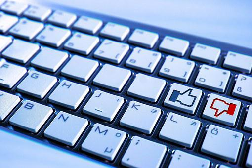 Keyboard, Computer, Facebook, Blue, Button, No, Like