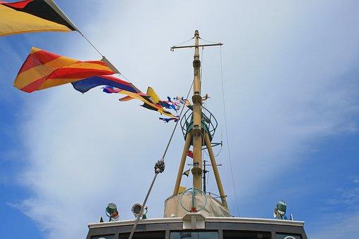 Flags On Tugboat, Boat, Tug, Old, Display, Mast, Lines