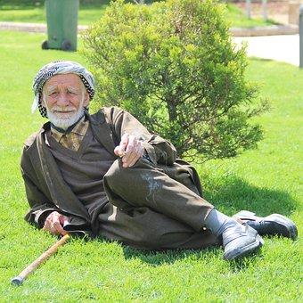 Man, Life, Urfa, Old, Muslim, Smoking, Grass Pavers