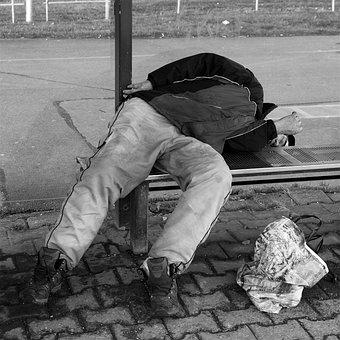 Homeless, Man, Sleeping, Drunk, Social, People, Society